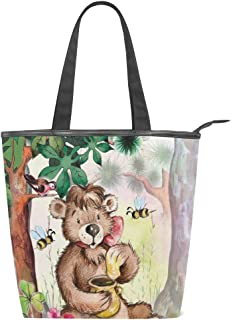ALAZA Tote Canvas Shoulder Bag Cute Bear Honey Bee Womens Handbag