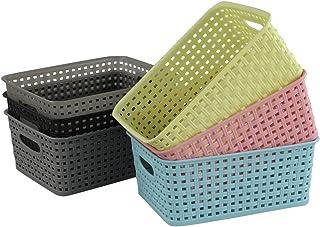 Ucake Paniers Organiseur Panier Rangement Plastique, 6-Pack (6 Couleurs)