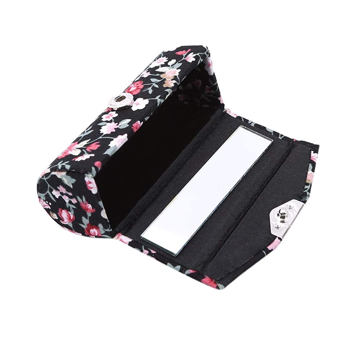 雪の行進フロー1st market 口紅ケースレトロ刺繍入り花柄付きミラーリップグロスボックスジュエリー収納ボックス、ブラック高品質