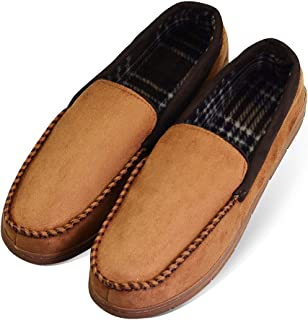 12a384e63db72 LA PLAGE Men s Anti-Slip Indoor Outdoor Microsuede Moccasin Slippers with  Hardsole