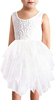 Girl Beaded Peony Lace Back A-Line Tiered Tutu Tulle Flower Girl Dress