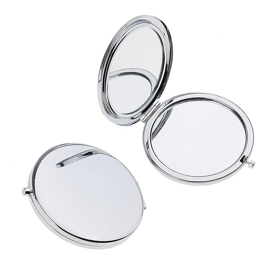 紳士花弁先にミニ手鏡 両面コンパクトミラー ステンレス 折りたたみ式 ハンドミラー 携帯ミラー 2個入り - 銀