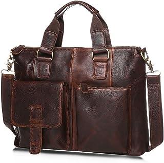 Men's Accessories 15 inch Laptop,Mens Leather Satchel Business Briefcase Vintage Style Messenger Shoulder Tote Bag Handbag for Outdoor Recreation (Color : Bright Burgundy)