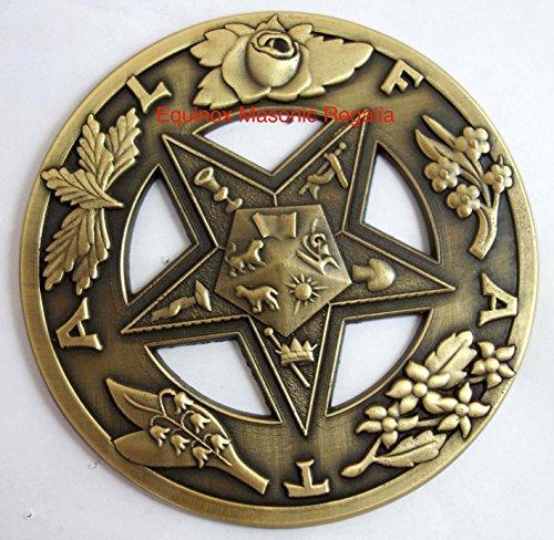 Antique Style Order of eastern Stars Freemasonry Auto Car Medallion Decal Heavy Emblem Sisterhood Pride- Equinox Masonic Regalia