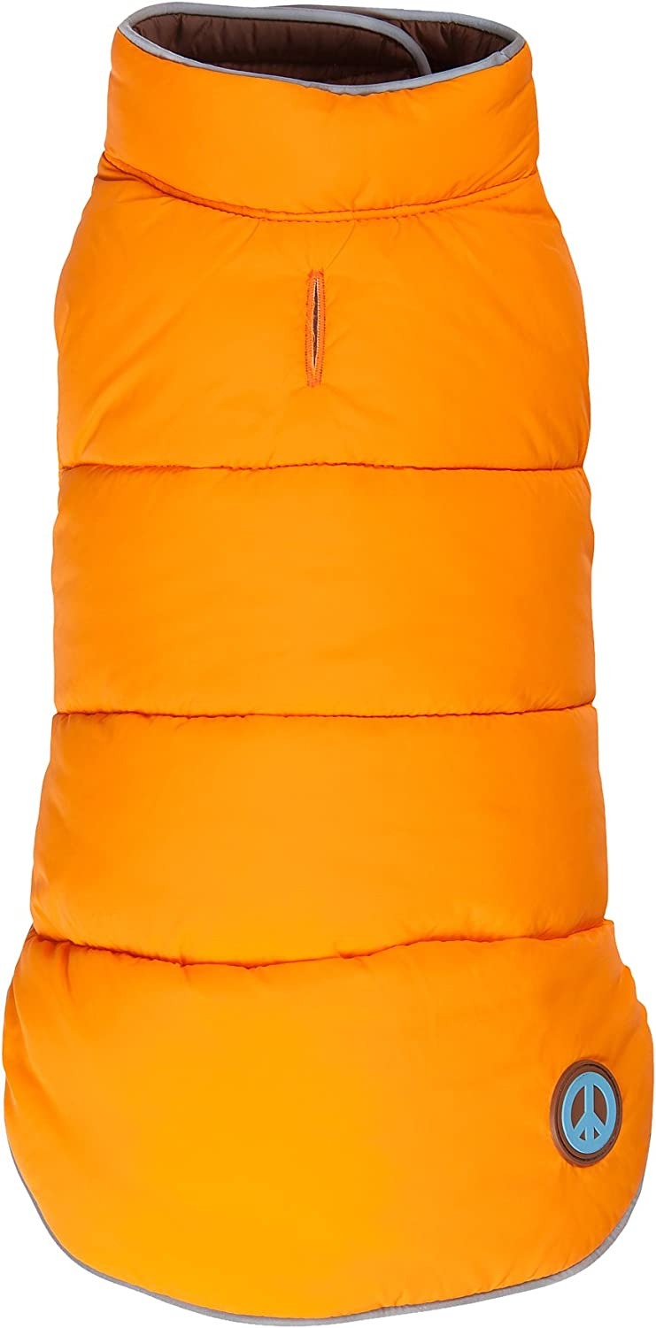 Fab Dog Reversible Puffer Vest Dog Jacket, orange Brown, 20Inch Length