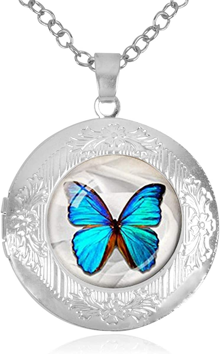 Morpho 100% quality warranty Butterfly Blue Locket Holds That Bargain sale Pictu Necklace
