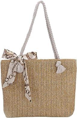 Demiawaking Umhängetasche aus Stroh, geflochten, mit Bowknot aus Seide, Casual, elegant, für Strand, Stroh, Sommer, Meer
