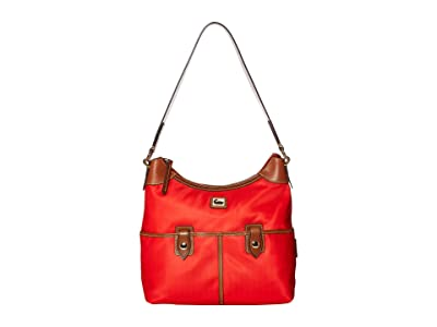 Dooney & Bourke Camden Zip Hobo (Red//Dark Chocolate Trim) Hobo Handbags