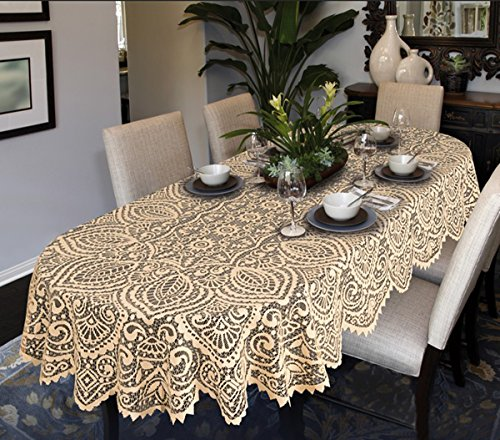 (63' (160cm) Round, Beige) - MforStyle Lace Large Tablecloth Oval OR Round White OR Beige Premium Quality (63' (160cm) Round, Beige)