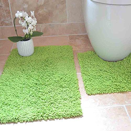 Tony's Textiles Tappetini per Bagno - 100% Cotone Ritorto - Set da 2 - Verde Lime
