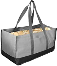 Delisouls Firewood Log Carrier Foldable Portable Firewood Carrier Storage Tote Durable 2 Handles Large Capacity Bag for Camping Indoor Fireplace