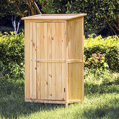 Materiale: legno verniciato Colore: Neutro (vernice trasparente) Tetto con isolamento dall'umidità Dimensioni: 92 x 57 x 154 cm Ripostiglio ad anta unica con serratura in metallo