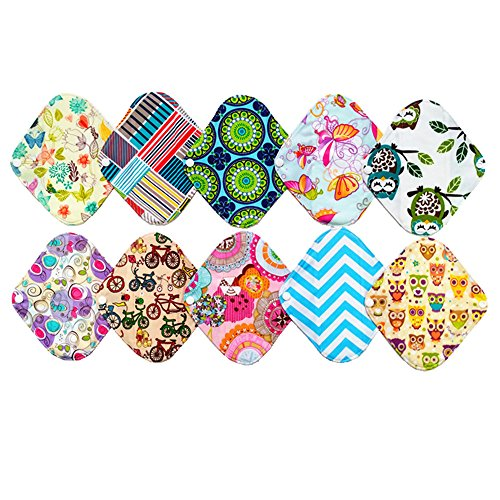 10 Pieces 8 Inch Light Bamboo Mama Cloth/ Menstrual Pads/ Reusable Sanitary Pads Panty liner .