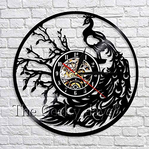 wtnhz LED-Peacock Silhouette Wall Clock Luxury Vintage Vinyl Record Clock Modern Design 3D Wall Watch Peacock Decorative Clock