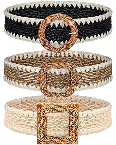 3 Cinturones Elásticos Tejidos de Paja con Bordes Trenzados de Lana con Hebilla