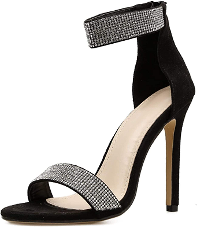 Crystal Women Pumps Zipper Wedding Lady shoes Thin Heels Women Sandals Apricot Black