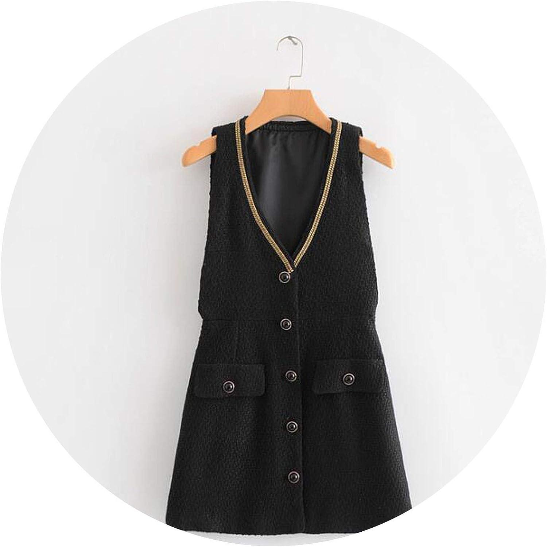 2018 Winter Vintage Twill Tweed Dress Women Sleeveless Tank Deep VNeck Aline Single Breasted OL Fashion Wear