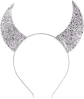 Merroyal Glitter Devil Horns Headband Halloween Fancy Dress Cosplay Costume Accessory (Sliver)