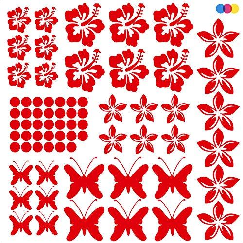 mural stickers Kit de adhesivos para coche, flores y mariposas, Adhesivo de vinilo PVC ideal para decorar coches, caravanas, motos, paredes, PC, cascos, paredes y muebles, color rojo, 70 unidades