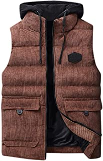 Vest Men Autumn Winter Padded Thick Hooded Solid Waistcoat Outwear Jacket Tops Beautyfine