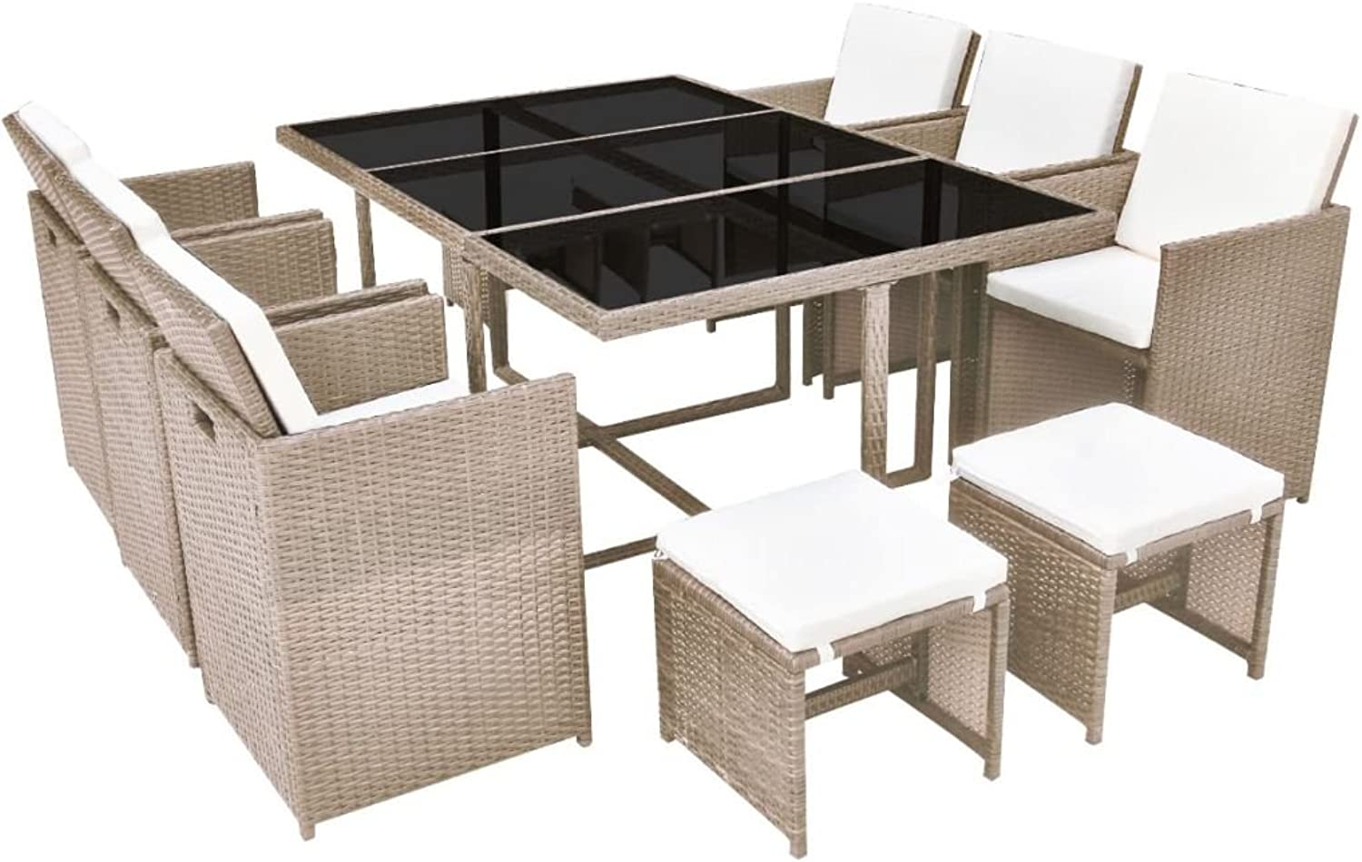 Festnight Outdoor Dining Set Graden Party Picnic Dining Table and Chairs with Removable Cushion for Family Gathering Home Decor Poly Rattan Grey