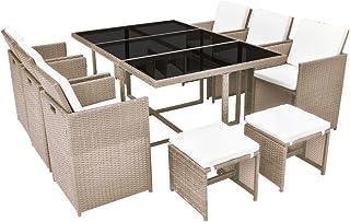vidaXL Conjunto de Muebles de Exterior 11 Piezas Comedor de Jardín Sillas y Mesa de Porche Patio Poli Ratán Sintético Beige Estilo de Mimbre