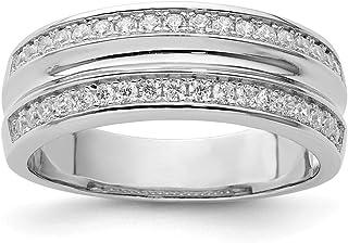 خاتم رجالي من الفضة الاسترلينية مطلي بالروديوم عيار 925 ومكعب زركونيا مكعب زركونيا مكعب