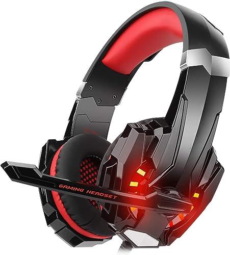 Casque Gaming pour PS4 Xbox One PC, DIZA100 Casque Gamer avec Micro Anti Bruit LED Lampe Stéréo Basse Contrôle du Vol...