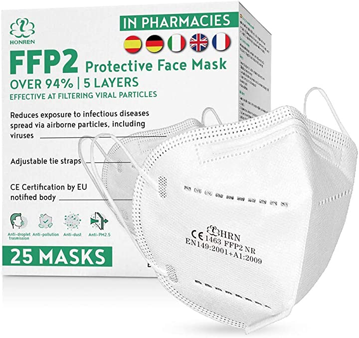Mascherine ffp2 - 25 pezzi, sigillate singolarmente, 5 strati protettivi, filtraggio 95% sherman tree