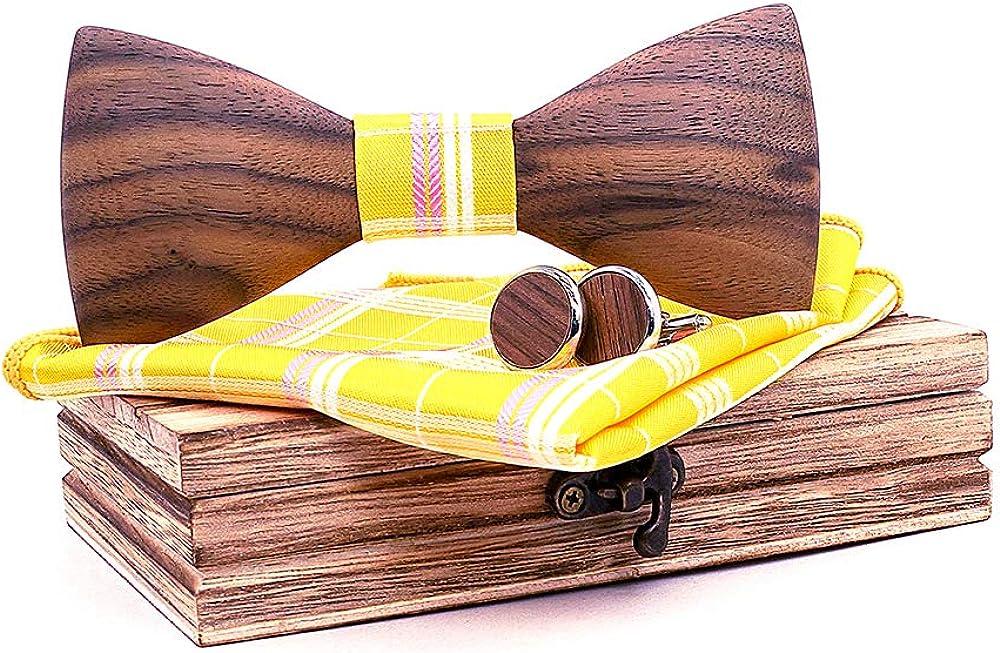 TORMROAD(TM) Handmade Wooden BowTie Necktie with Matching Pocket Square Men's Cufflinks Set TZ016