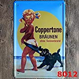 Retro Vintage Metal Tin Sign,16x12in,Coppertone Art Drinking Materials Iron Poster Painting Tin Sign Vintage Wall Decor for Cafe Bar Pub Home Beer Decoration Crafts
