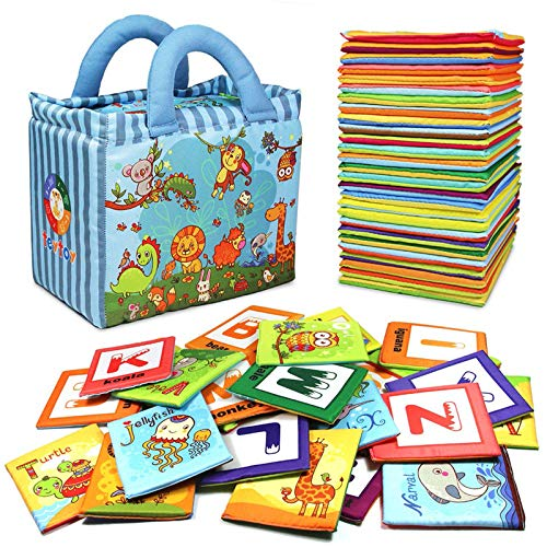 TEYTOY Baby Toy Zoo Series 26pcs Soft Alphabet Cards with...
