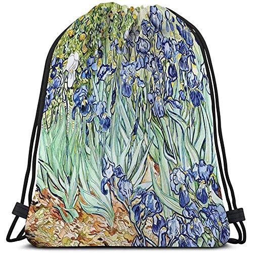 Dingjiakemao Strapazierfähiger Turnbeutel,Malvorlagen Männer Und Frauen Rucksack Rucksack Wandern Leichte Schwertlilien Vincent Van Gogh Schwertlilien Vincent Van Gogh Erwachsenen Ausmalbilder