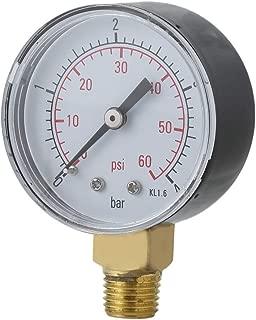 Kaemma Práctico Piscina SPA Filtro Manómetro de presión de Agua Mini 0-60 PSI 0-4 Bar Montaje Lateral 1/4 Pulgada Rosca de Tubo NPT TS-50(Color:Black)