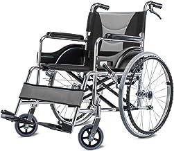 Zhi BEI Wheelchair, Lightweight Folding Portable Travel,Aluminum Alloy Elderly Disabled Manual Wheelchair with Hand Brake  