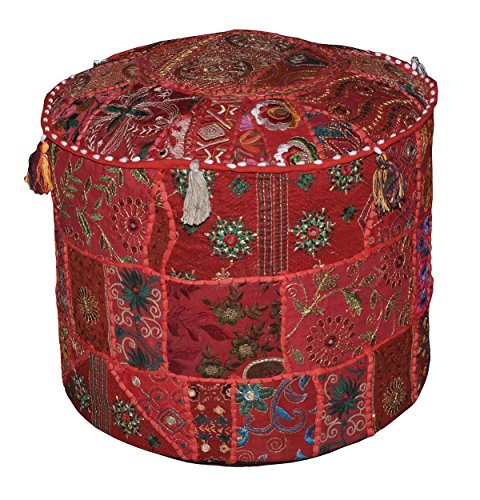 Indian Living Room Red Pouf, Round Ottoman Stool Pouf, Indian Patchwork Ottoman Pouf Cover, Ethnic Embroidered Pouf Indian Pouf Stool Vintage Patchwork Embellished With Patchwork Living Room Ottoman Cover, 46 X 33 Cm by Online By Bazar by Online Big Bazar
