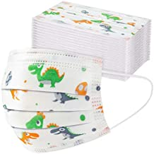 Cute Kids Face Mask,Children's 3 Ply Protective Earloop Disposable Face Masks with Dinosaur Print,50PCS