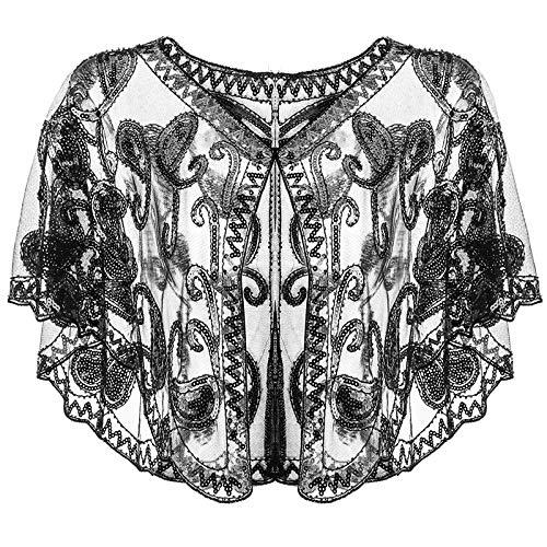 Riclahor 20er Jahre Accessoires Retro Schal Umschlagtücher Charleston Kleid Damen Fascinator 20er Jahre Kleid Pailetten Accessoires für Hochzeit Abschlussball Karneval Party Accessoires
