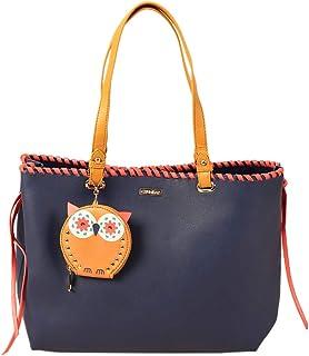 Owl Charm Fashion Tote Bag - Navy