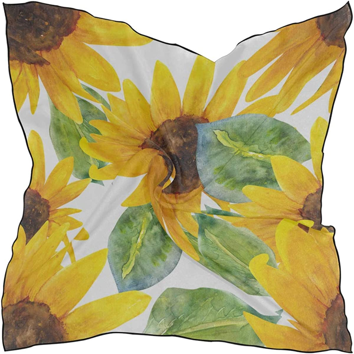 Women's Soft Polyester Silk Square Scarf Sunflower Watercolor Painting Art Yellow Landscape Flower Sea Fashion Print Head & Hair Scarf Neckerchief Accessory-23.6x23.6 Inch