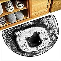 カスタム&ブランケットブーツスクレーパーマット、レターQノンスリップドアマット、イニシャルにグランジムムムルーキー効果のある大文字文字、ファーストネーム、Who Archaic Style(シルバーグレー、H20 x D32 半円)