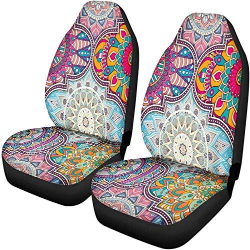 Bernice Winifred PZZ Colorful Mandala Lotus Print Fundas para Asientos Delanteros Protector Interior Decoración Universal Fit Most Vechile, Sedan, SUV, Van