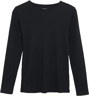 Marks & Spencer Women's Pure Cotton Regular Fit Long Sleeve Top, BLACK