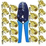 10 unids SMA macho a hembra conectores y herramienta de crimpado coaxial para RG174 RG316 cable de extensión de antena wifi