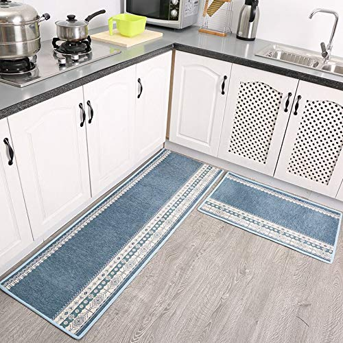 OPLJ Alfombra de cocina de estilo nórdico, para baño, absorción de agua, suave, para dormitorio, mesita de noche, tamaño A4, 50 x 80 cm+50 x 160 cm