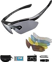 ROCKBROS Gepolariseerde Sportbril UV400 Bescherming met 5 Verwisselbare Lenzen Fietsbril Dames Heren voor Buitensporten Fi...