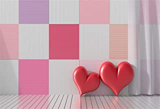 Leyiyi 10x8ft Photography Background Happy Valentine's Day Backdrop Wedding Ceremony Romantic Room 3D Heart Shape Pillow Checkered Flag Curtain Watercolor Marriage Photo Portrait Vinyl Studio Prop