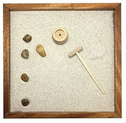 GIARDINO ZEN DA TAVOLO 25x25 2cm di legno massello MOGANO lavorato artigianalmente fatto a mano - Prodotto di Qualita'