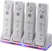 Wii Remote Controller Charger, 4 in 1 Wii Charging Dock Station with 4PCS 2800mAh Rechargeable Batteries for Wii/ Wii U Controller-White