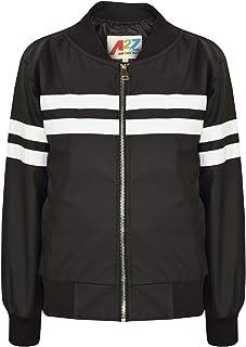 Kids Boys Girls Jacket Contrast Stripe Black PU Bomber Varsity School Biker Coat